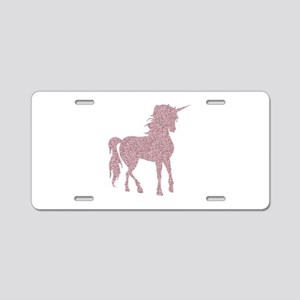 Pink Unicorn Aluminum License Plate