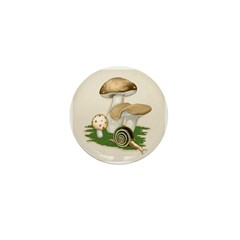 Snail in Mushroom Garden Mini Button (10 pack)