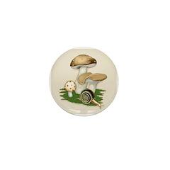 Snail in Mushroom Garden Mini Button (10 pack)