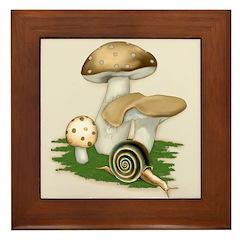 Snail in Mushroom Garden Framed Tile