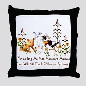 Pythagoras Vegetarian Quote Throw Pillow
