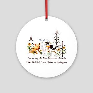 Pythagoras Vegetarian Quote Ornament (Round)