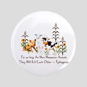 "Pythagoras Vegetarian Quote 3.5"" Button"