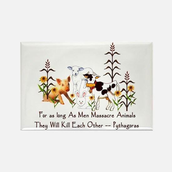 Pythagoras Vegetarian Quote Rectangle Magnet