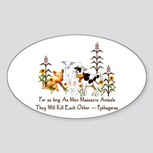 Pythagoras Vegetarian Quote Sticker (Oval)