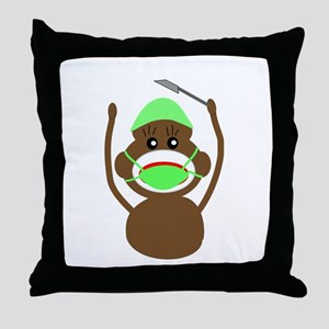 Sock Monkey Occupations Throw Pillow