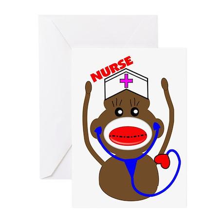 Nurse Sock Monkey Greeting Cards (Pk of 20)