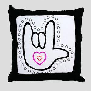 B/W Bold Love Hand Throw Pillow