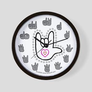 B/W Bold Love Hand Wall Clock