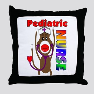 Nurse Sock Monkey Throw Pillow