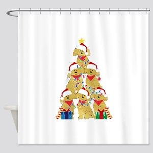 Goldendoodle Puppy Xmas Tree Shower Curtain