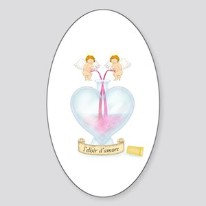 Cupids Making Love Potion Oval Sticker
