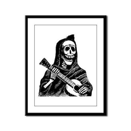 Calavera con Gitarra Framed Panel Print