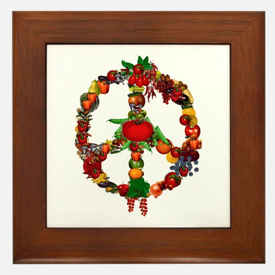 Veggie Peace Sign Framed Tile