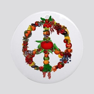 Veggie Peace Sign Ornament (Round)