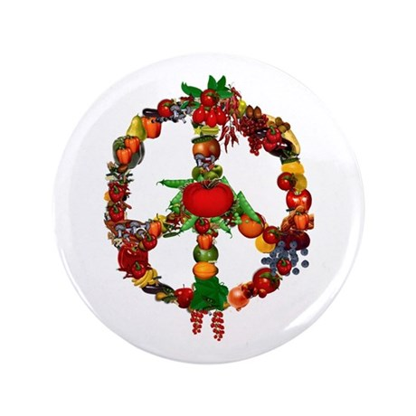 "Veggie Peace Sign 3.5"" Button"