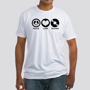 Peace Love Techno Fitted T-Shirt