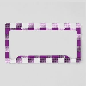 Buffalo Plaid - Purple & Whit License Plate Holder