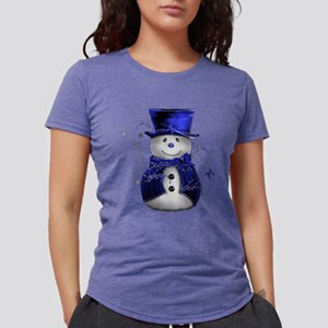 Cute Snowman in Blue Velve T-Shirt