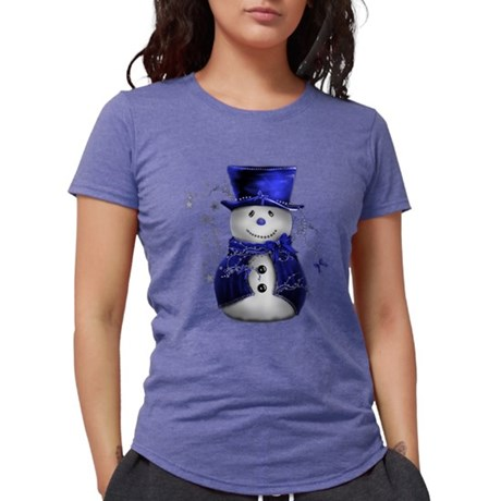 Cute Snowman in Blue Velve T-Shirt