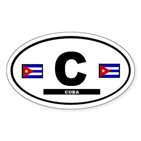 Cuba Cuban International Style Oval Sticker