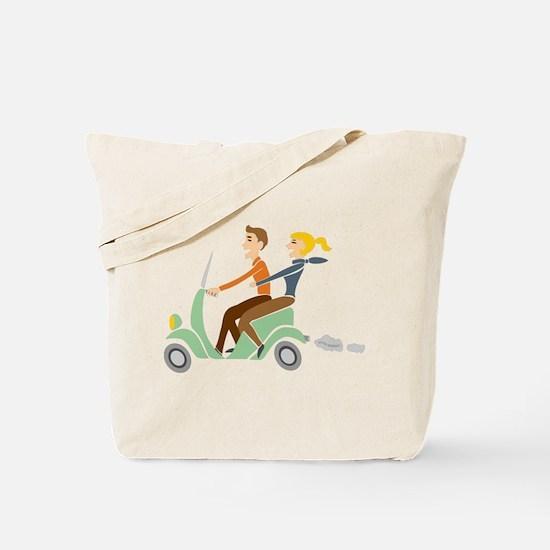 Scooter Retro Couple Tote Bag