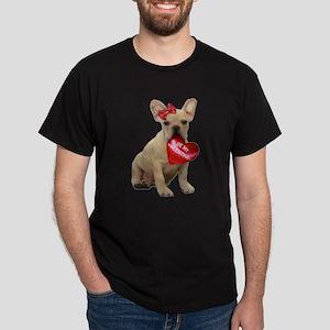 Be my Valentine French Bulldo Dark T-Shirt