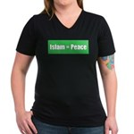 Islam means Peace Women's V-Neck Dark T-Shirt