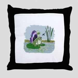 Winged Frog Throw Pillow