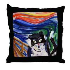 Kitty Scream Throw Pillow
