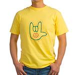 Blue Bold Love Hand Yellow T-Shirt