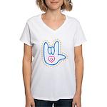 Blue Bold Love Hand Women's V-Neck T-Shirt