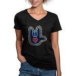Blue Bold Love Hand Women's V-Neck Dark T-Shirt