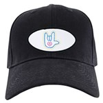 Blue Bold Love Hand Black Cap