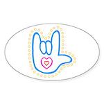 Blue Bold Love Hand Oval Sticker (50 pk)