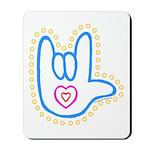 Blue Bold Love Hand Mousepad