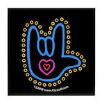 Blue Bold Love Hand Black Tile Coaster