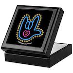 Blue Bold Love Hand Black Keepsake Box