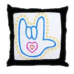 Blue Bold Love Hand Throw Pillow