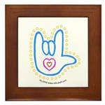 Blue Bold Love Hand Framed Tile
