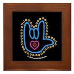 Blue Bold Love Hand Black Framed Tile
