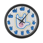 Blue Bold Love Hand Large Wall Clock
