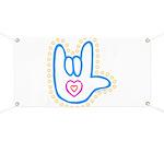 Blue Bold Love Hand Banner