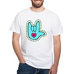 Aqua Bold Love Hand White T-Shirt