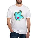 Aqua Bold Love Hand Fitted T-Shirt