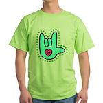 Aqua Bold Love Hand Green T-Shirt