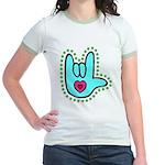 Aqua Bold Love Hand Jr. Ringer T-Shirt