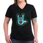 Aqua Bold Love Hand Women's V-Neck Dark T-Shirt