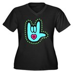 Aqua Bold Love Hand Women's Plus Size V-Neck Dark