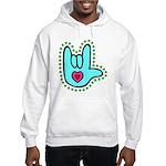 Aqua Bold Love Hand Hooded Sweatshirt